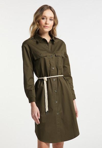 DreiMaster Vintage Blusenkleid in grün / oliv, Modelansicht