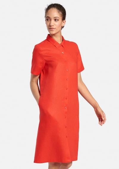 Peter Hahn Abendkleid aus Leinen in rot, Modelansicht