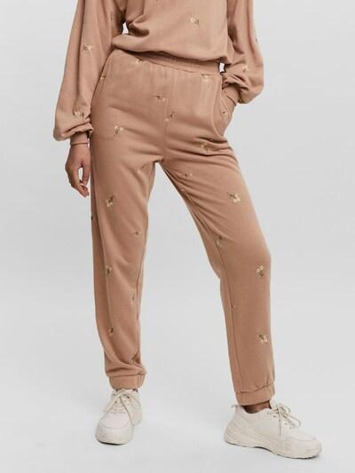 VERO MODA Pantalon en beige / vert / blanc, Vue avec modèle