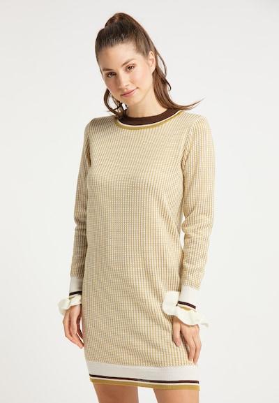 MYMO Robes en maille en marron / jaune / blanc, Vue avec modèle
