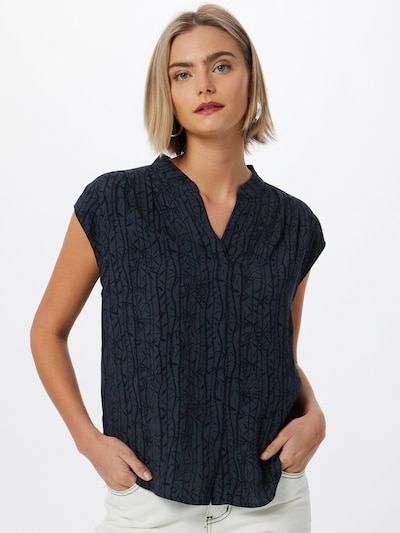 Someday Bluse 'Zinta' in nachtblau / taubenblau, Modelansicht