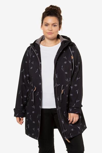 Ulla Popken Damen große Größen  bis 64, Softshell-Longjacke, wasserabweisend & winddicht & aktmungsaktiv,Fleecefutter, 2-Wege-Zipper,  723792 in schwarz, Modelansicht