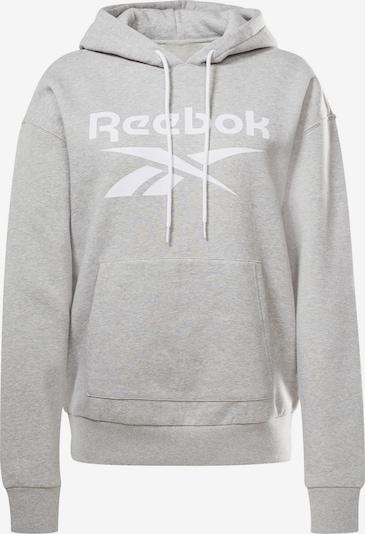 Reebok Sport Sweat de sport en gris chiné / blanc, Vue avec produit