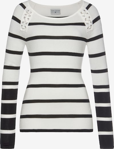 Tom Tailor Polo Team Pullover in schwarz / offwhite, Produktansicht