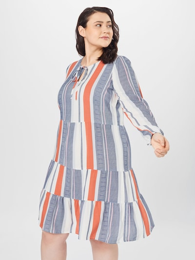 Vero Moda Curve Kleid 'BIRDY' in blue denim / melone / weiß, Modelansicht