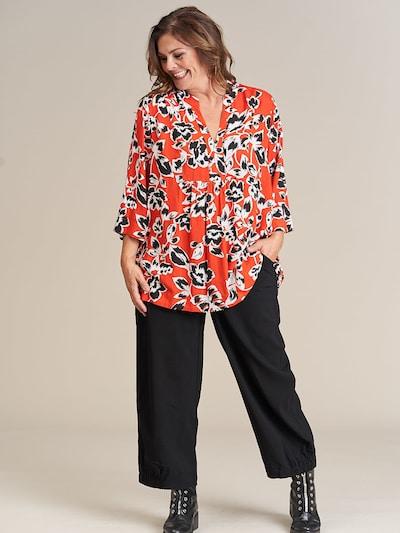 GOZZIP Bluse 'Edith' in orange / schwarz / weiß, Modelansicht