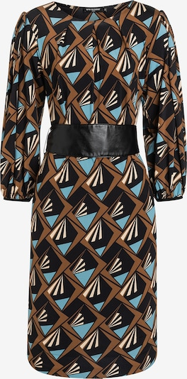 Ana Alcazar Jurk ' Esida ' in de kleur Crème / Lichtblauw / Bruin / Zwart, Productweergave