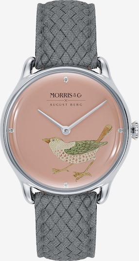August Berg Uhr 'MORRIS & CO Silver Bird Grey Perlon 30mm' in pink, Produktansicht