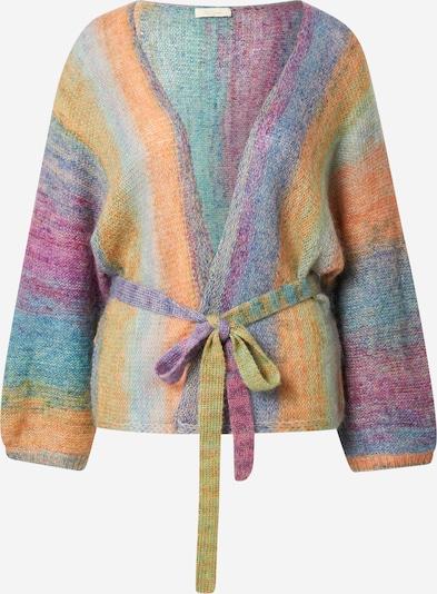 Mes Demoiselles Gebreid vest 'REVIVAL' in de kleur Smoky blue / Honing / Mintgroen / Lichtoranje / Roodviolet, Productweergave