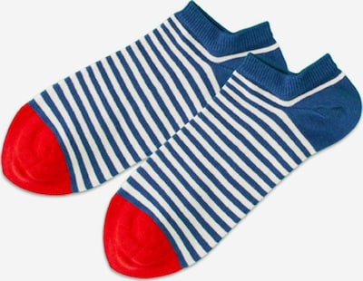 DillySocks Chaussons en bleu cobalt / rouge / blanc, Vue avec produit