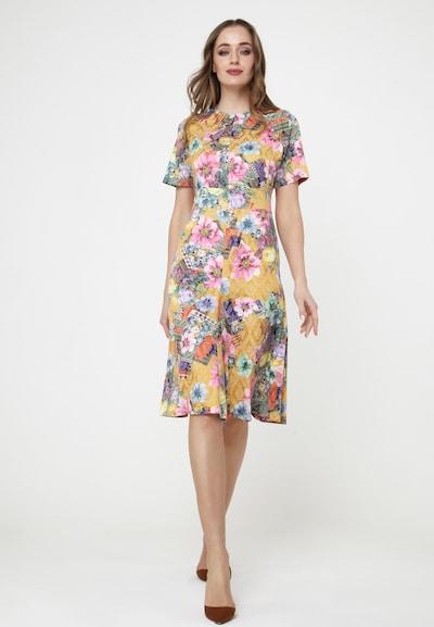 Madam-T Cocktailkleid 'CHARLOTTE' in senf / mischfarben / rosa, Modelansicht