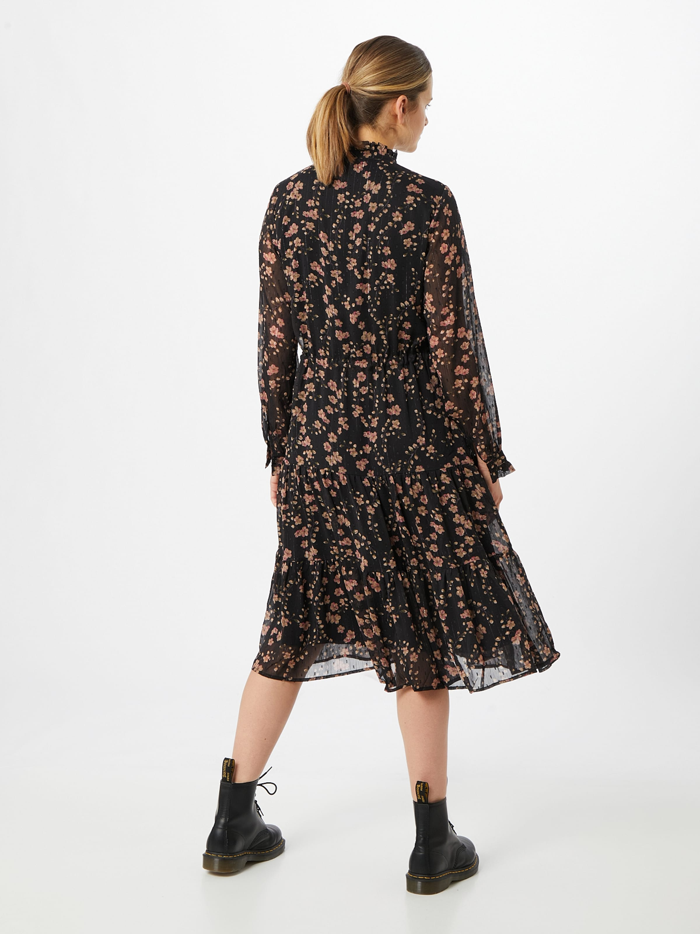 ICHI Kleid 'Ixlia' in beige / pink / schwarz
