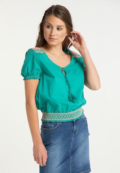 IZIA Bluse in jade / rosa, Modelansicht