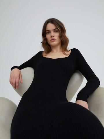 EDITED Gebreide jurk 'Catherine' in Zwart