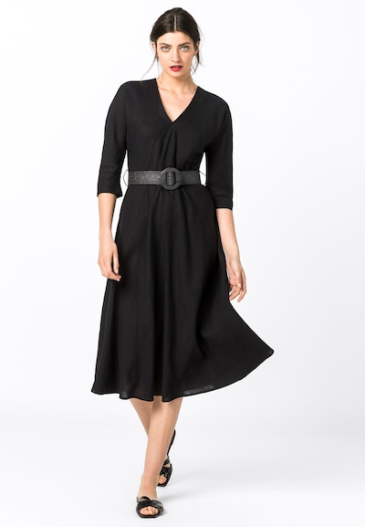 HALLHUBER Leinenkleid mit Bastgürtel in schwarz, Modelansicht