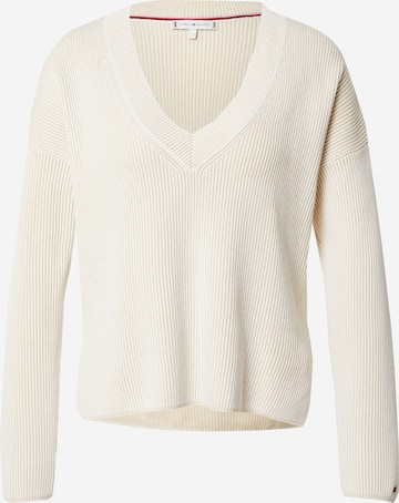 TOMMY HILFIGER Sweater 'TOMMY HILFIGER X ABOUT YOU V-NK SWTR' in Beige