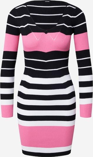 GUESS Strickkleid in pink / schwarz / weiß, Produktansicht