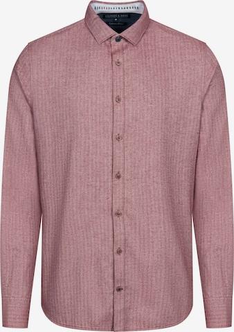 COLOURS & SONS Langarmhemd 'Herringbone' in Rot