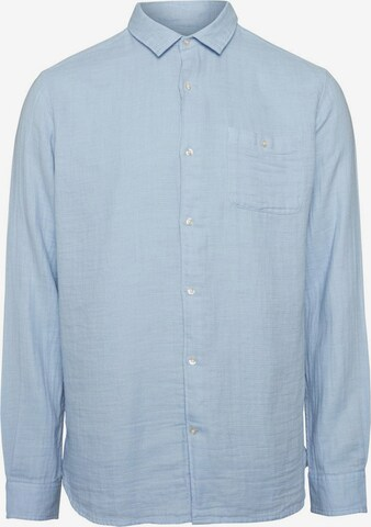 KnowledgeCotton Apparel Hemd ' Double Layer Shirt ' in Blau