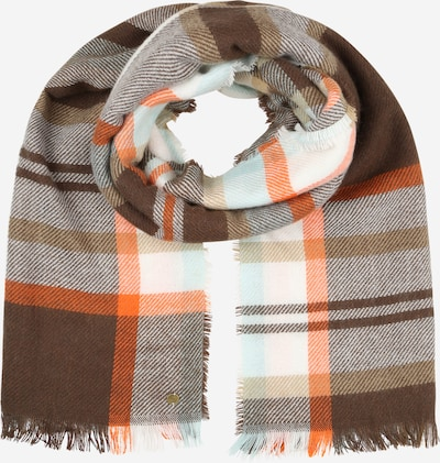 ESPRIT Sjaal 'Per Eos' in de kleur Donkerbruin / Grijs gemêleerd / Sinaasappel / Wit, Productweergave
