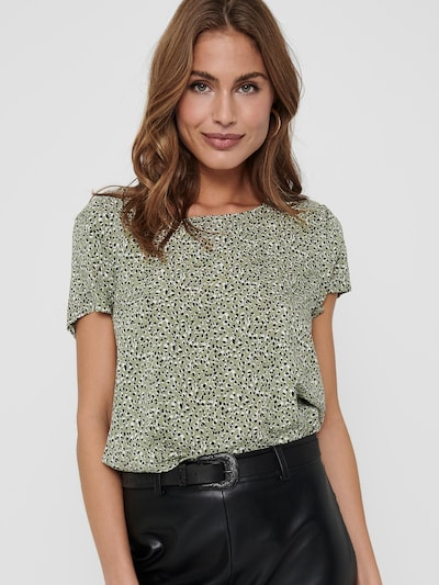 ONLY Shirt 'FIRST' in pastellgrün / schwarz / weiß, Modelansicht