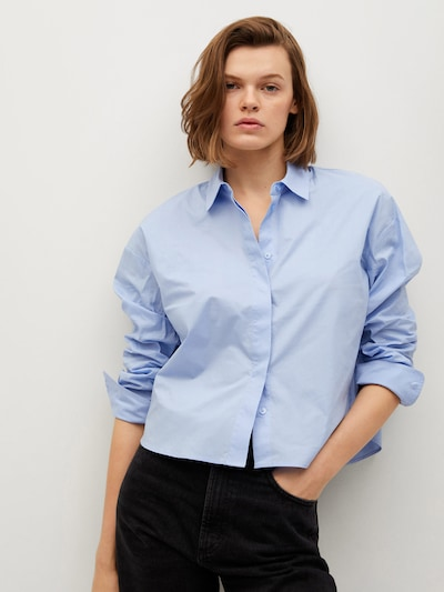MANGO Bluse in blue denim, Modelansicht