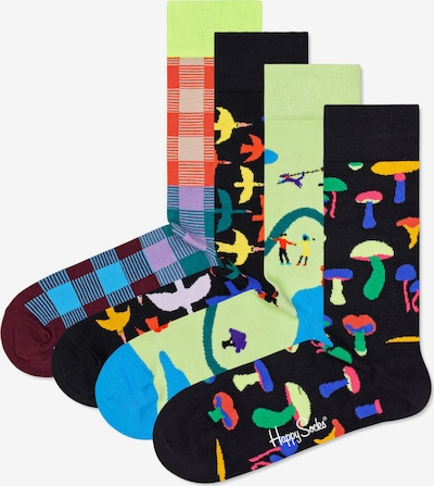 Happy Socks Socken in gelb / petrol / lila / dunkelorange / schwarz, Produktansicht