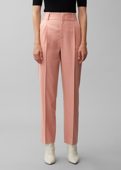 Marc O'Polo Pure Bundfaltenhose in rosa: Frontalansicht