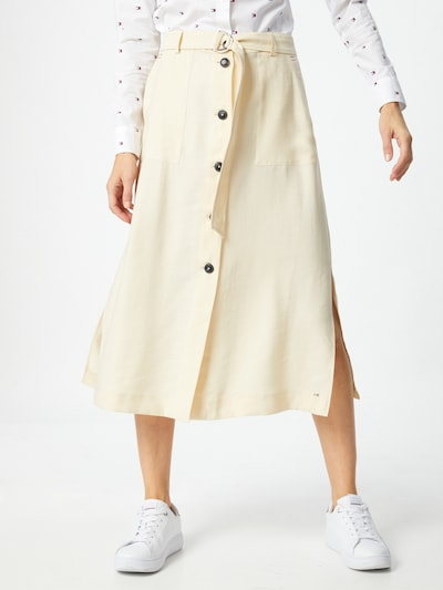TOMMY HILFIGER Skirt 'TOMMY HILFIGER X ABOUT YOU BUTTONED MIDI SKIRT' in Beige: Frontal view