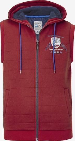 Jan Vanderstorm Bodywarmer 'Mingus' in de kleur Smoky blue / Rood gemêleerd / Wit, Productweergave