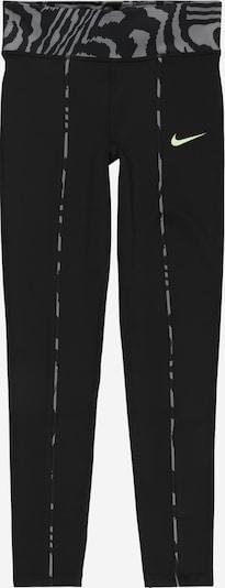 NIKE Pantalon de sport 'One' en gris / vert fluo / noir, Vue avec produit