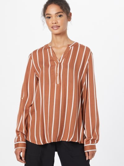 Kaffe Bluse 'Stridy' in braun / weiß, Modelansicht