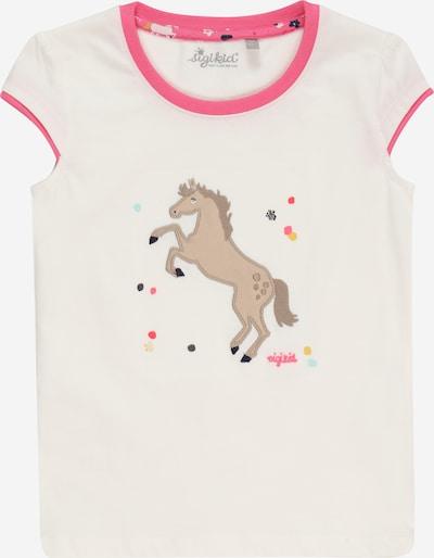 SIGIKID T-Shirt en brocart / brun foncé / jade / rose foncé / blanc, Vue avec produit