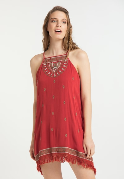 usha FESTIVAL Zomerjurk in de kleur Donkerbeige / Rood / Wit, Modelweergave