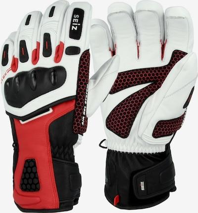 Seiz Handschuhe in dunkelrot / schwarz / weiß, Produktansicht