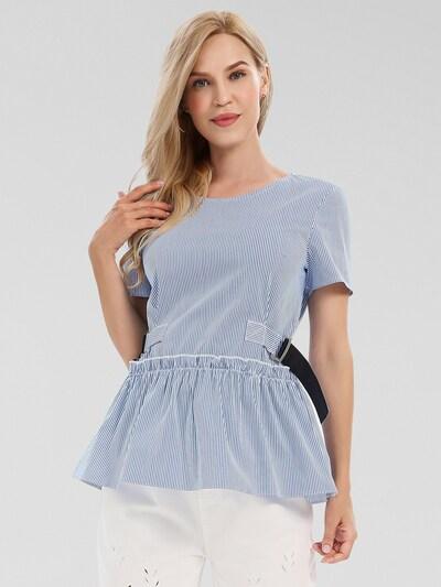 APART Bluse mit angesetztem Schößchen in creme / hellblau, Modelansicht