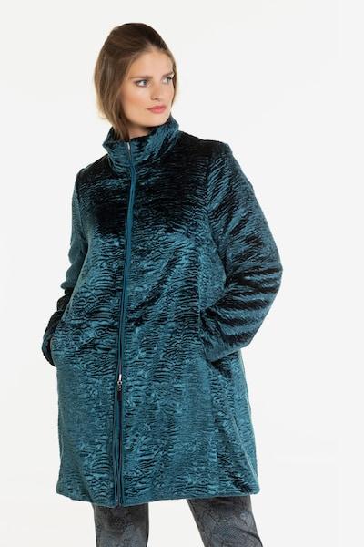 Ulla Popken Damen große Größen Wendemantel, Premiumqualität 718843 in petrol, Modelansicht