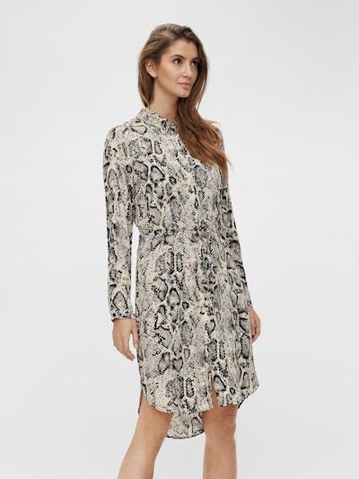 OBJECT Kleid 'Bay' in creme / taupe / hellgrau / schwarz, Modelansicht