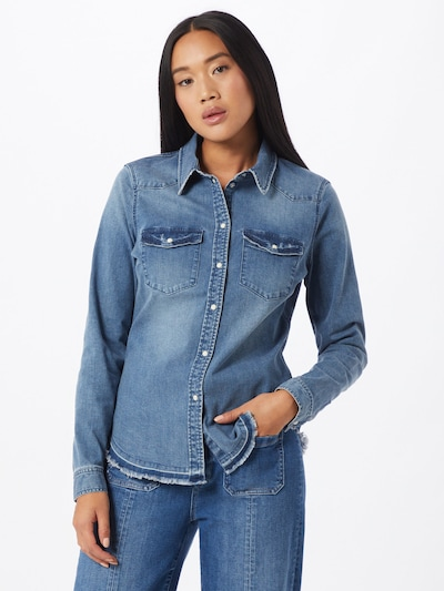 VERO MODA Bluse 'Lea' in blue denim, Modelansicht