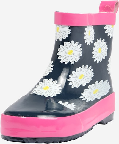 PLAYSHOES Rubber boot in Navy / Yellow / Pink / White, Item view