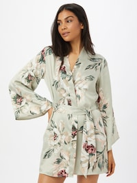 Hunkemöller Dressing gown in Beige / Turquoise / Petrol / Wine red