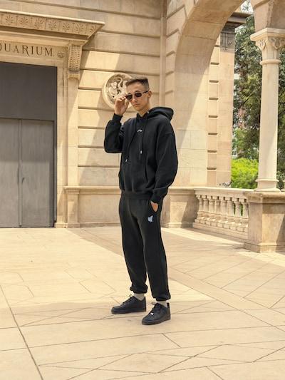 ABOUT YOU Limited Pantalon 'Max' en gris foncé, Vue avec modèle