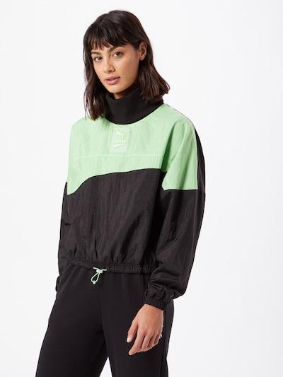 PUMA Sportovní mikina - svítivě zelená / černá: Pohled zepředu