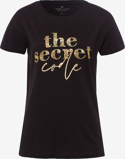 Cross Jeans T-Shirts in gold / schwarz, Produktansicht