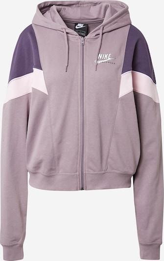 Nike Sportswear Sweat jacket 'Heritage' in pastel purple / dark purple / pastel pink / white, Item view