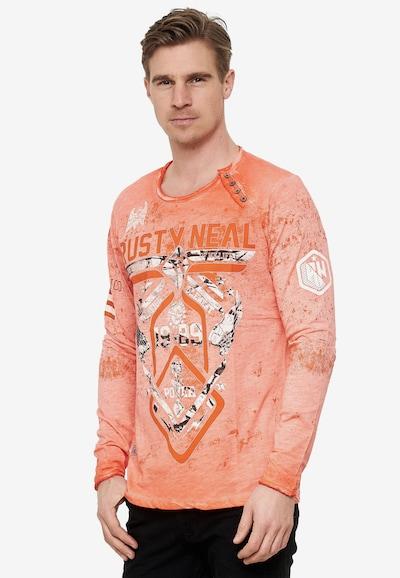 Rusty Neal Langarmshirt Rundhals Printed in orange: Frontalansicht