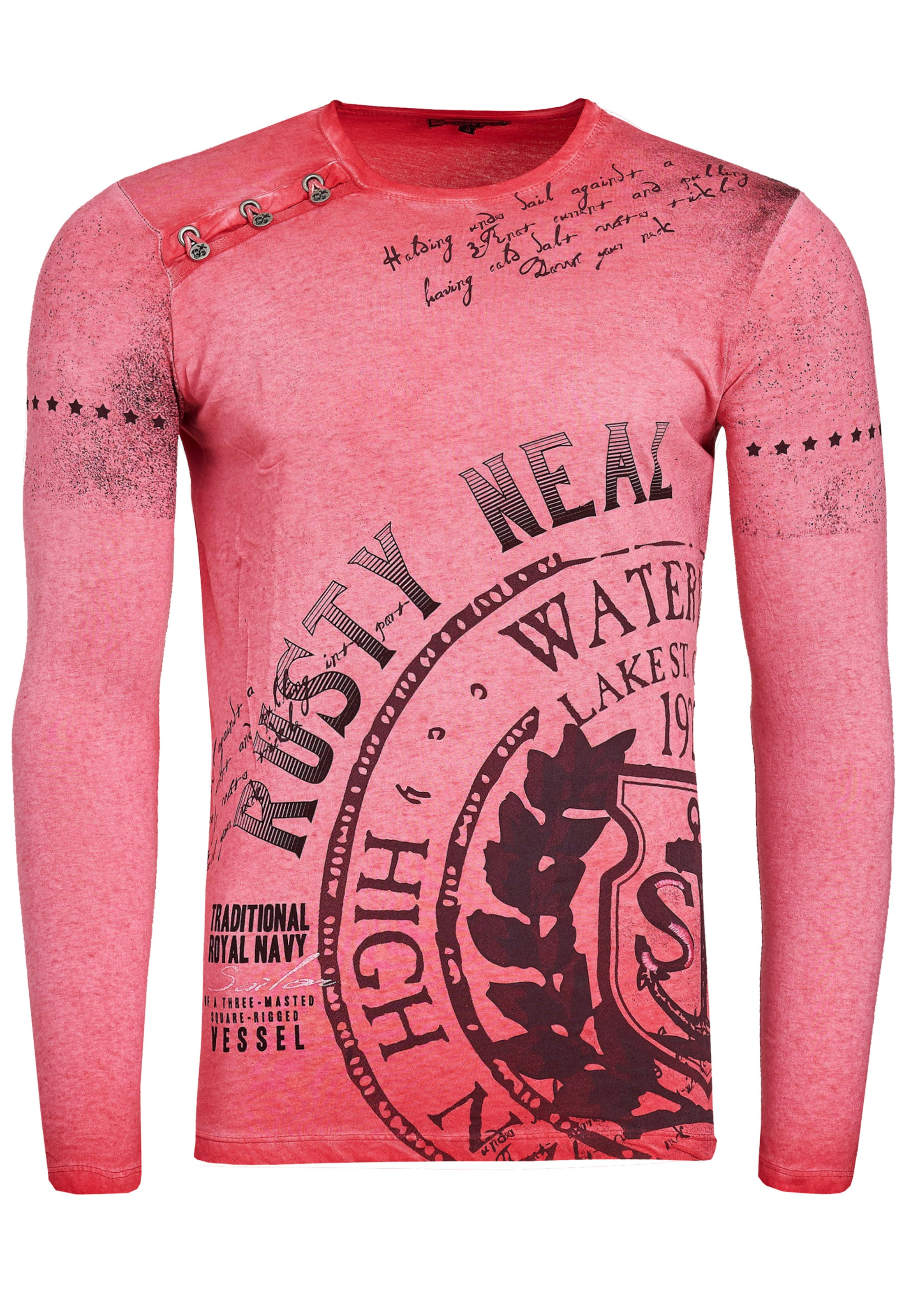 Rusty Neal Longshirt Oil Washed mit Knopfleiste in rot Baumwolle 3099914