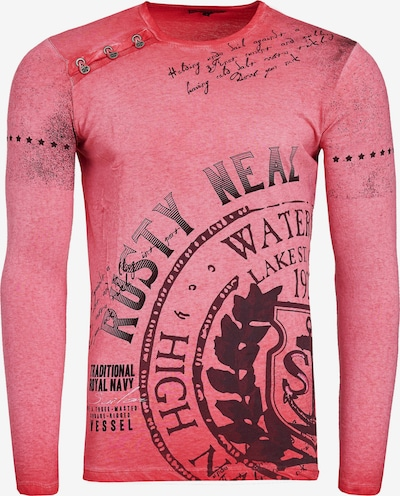 Rusty Neal Longshirt Oil Washed mit Knopfleiste in rot: Frontalansicht