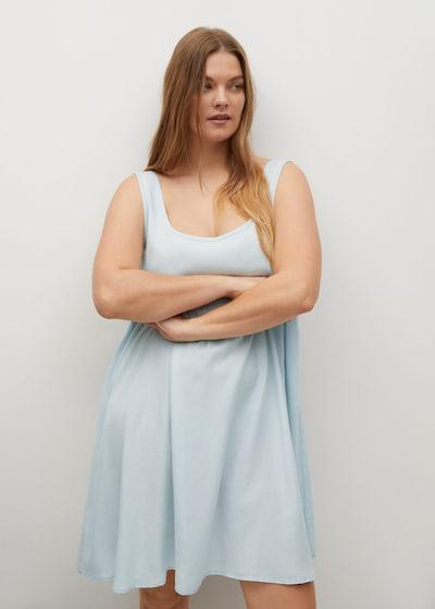 VIOLETA by Mango Kleid 'Adri-i' in hellblau, Modelansicht