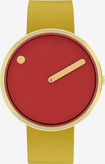 Picto Uhr in dunkelgelb / gold / feuerrot, Produktansicht